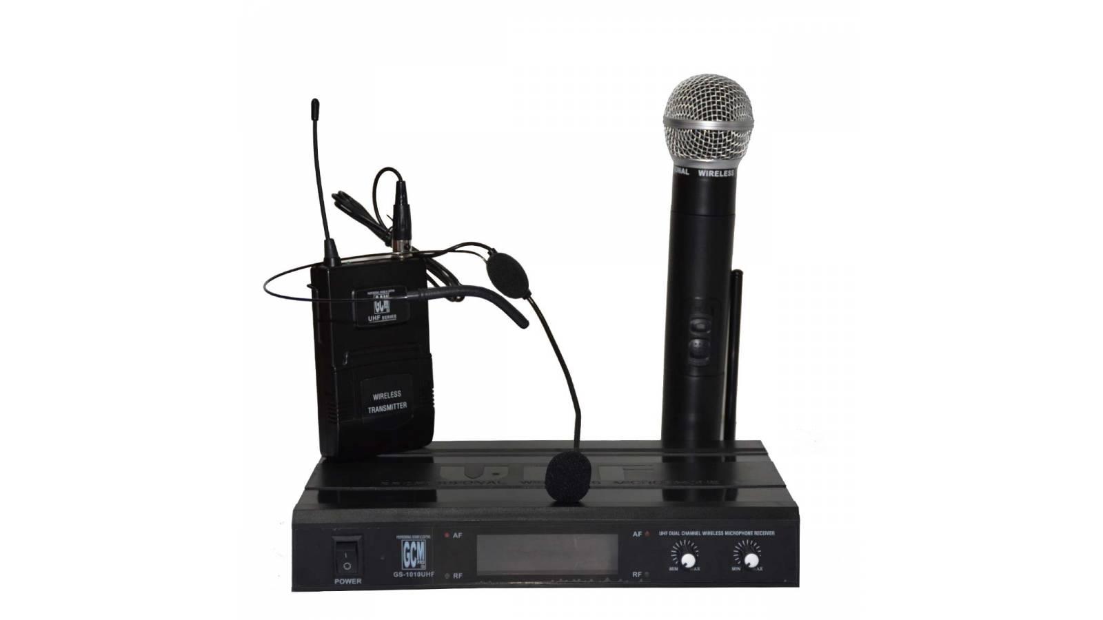 Microfono inalambrico doble Vincha + Mano UHF GCM Pro GS-1010UHF