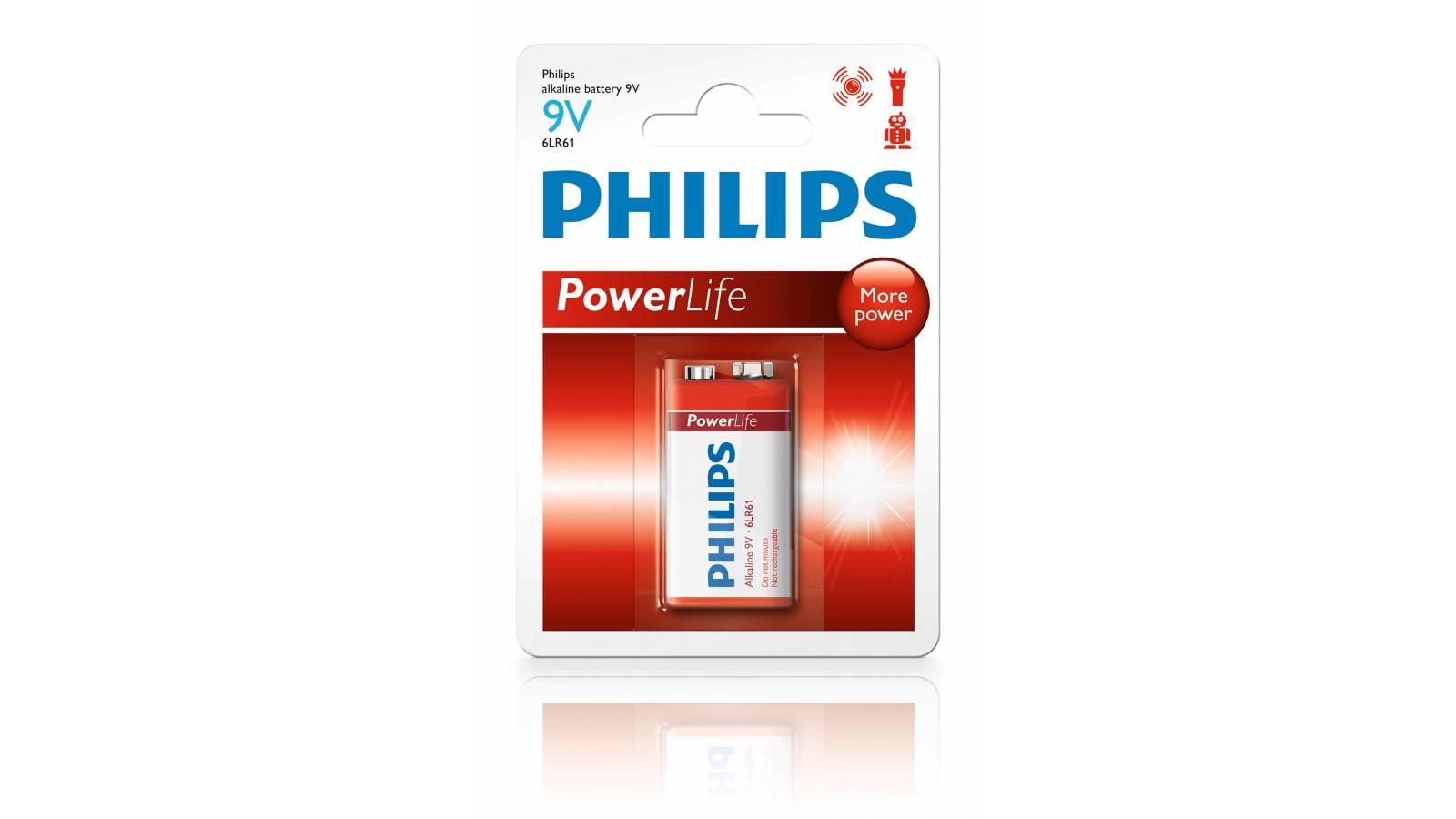 Pila Batería Philips Alcalina 6LR61P1B/97 9V