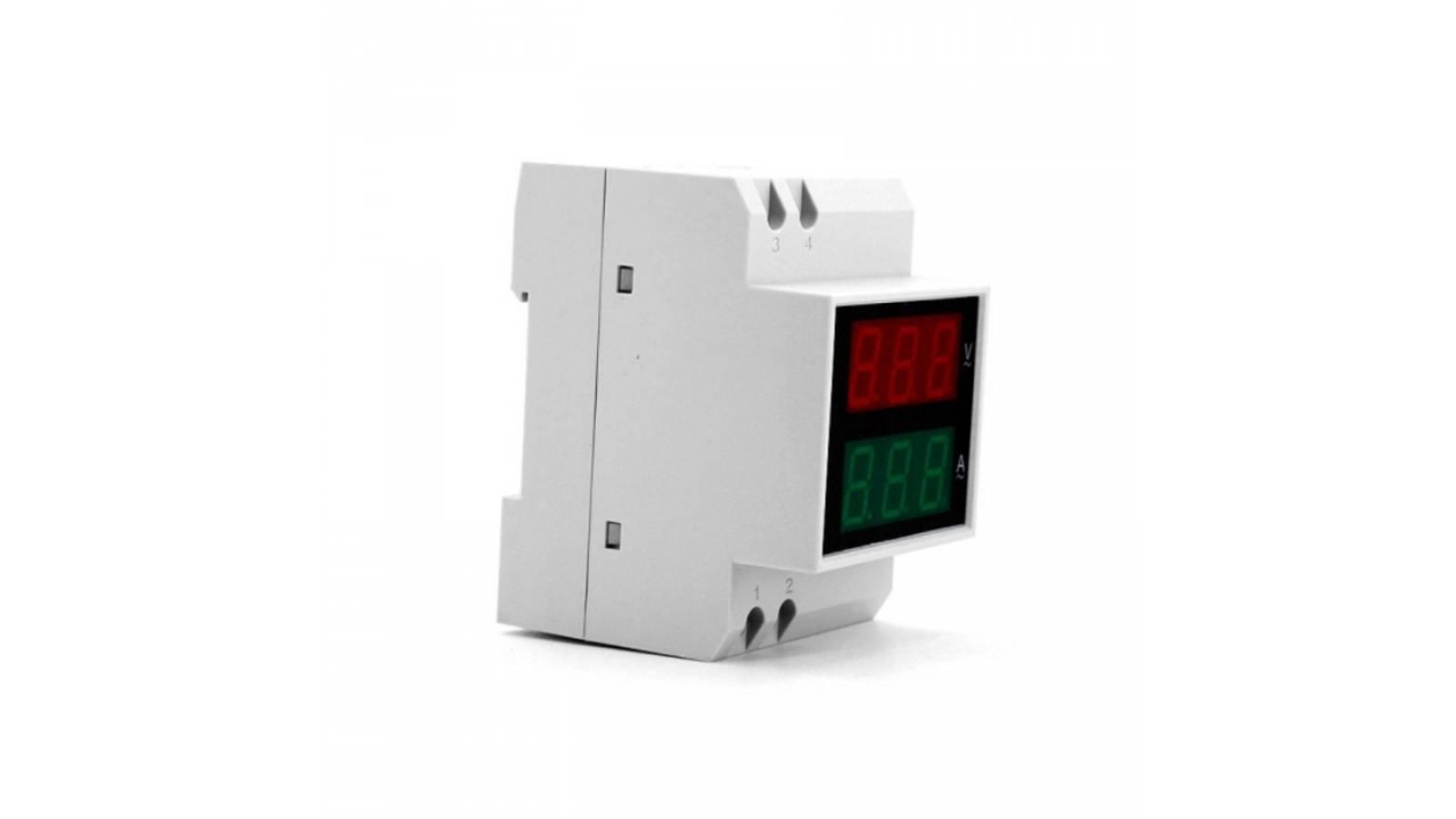 Voltímetro y Amperímetro Digital 2 en 1 GAV2-200450Riel AC200-450V / 100.0A