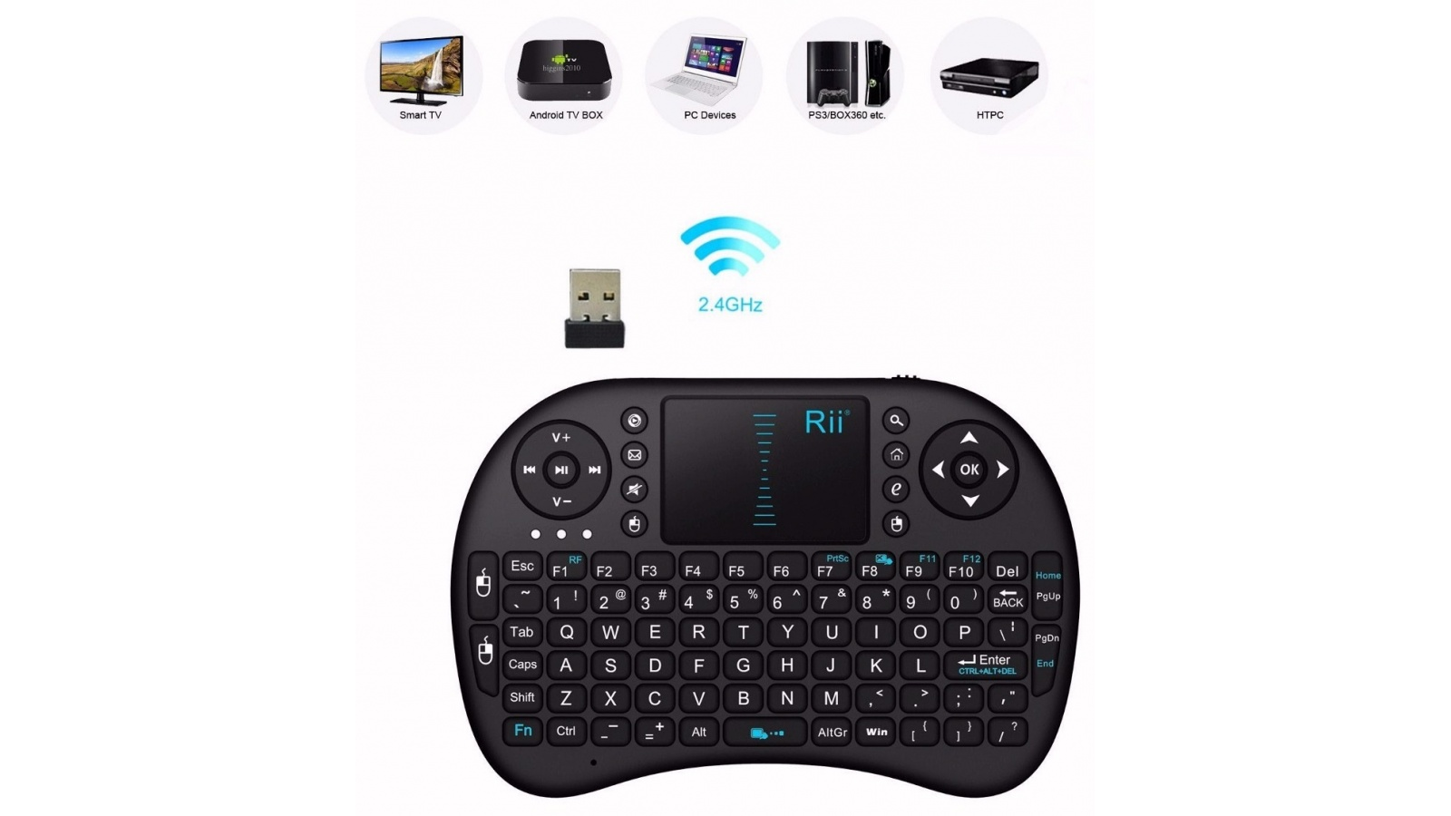 Teclado Mouse Inalámbrico Android Smart Tv Tablet Ps3 Pc USB
