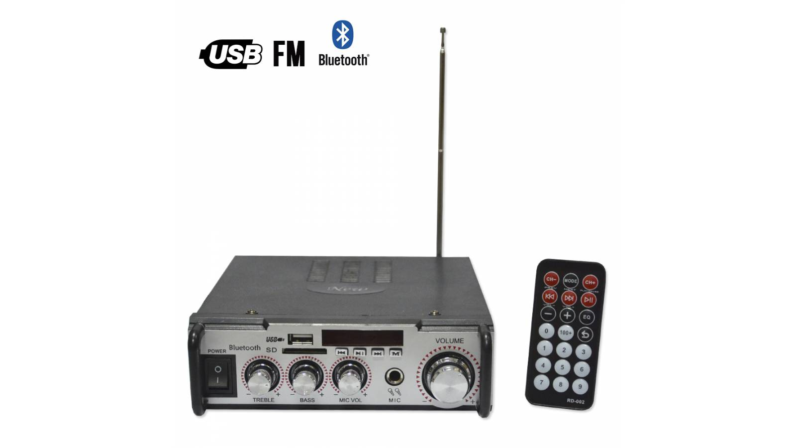Amplificador de Audio C/Lector USB y SD + FM Bluetooth GCM-009