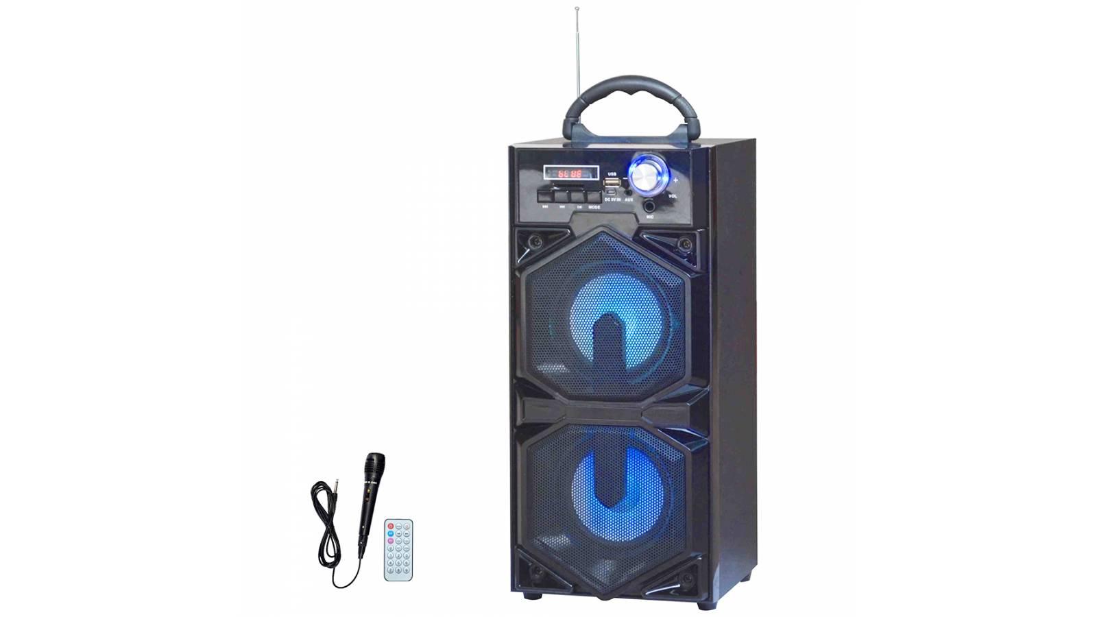 """Parlante Portátil Estéreo 2x4"""" G-3608 Bluetooth LED + Micrófono"""