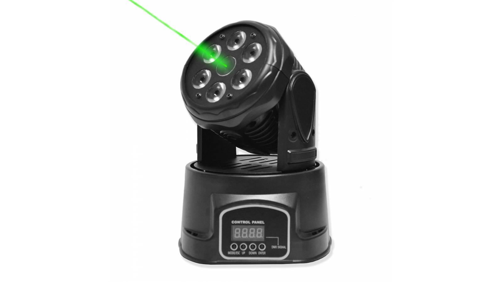 Cabeza Movil GCM Pro 6x10W RGBW 4-en-1 LM70 + Laser Verde