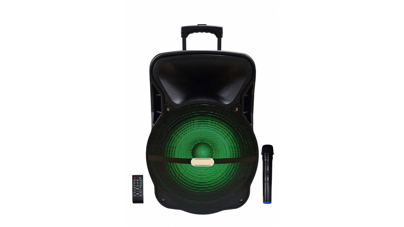 """Caja Bafle Potenciada Activa 1 x 15"""" con LED USB FM Bluetooth con bateria y 12V GCM Pro"""