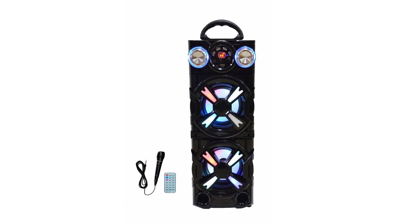 """Parlante Portátil LED Estéreo 2x5"""" G-3151 FM, USB, SD, BT + Micrófono"""