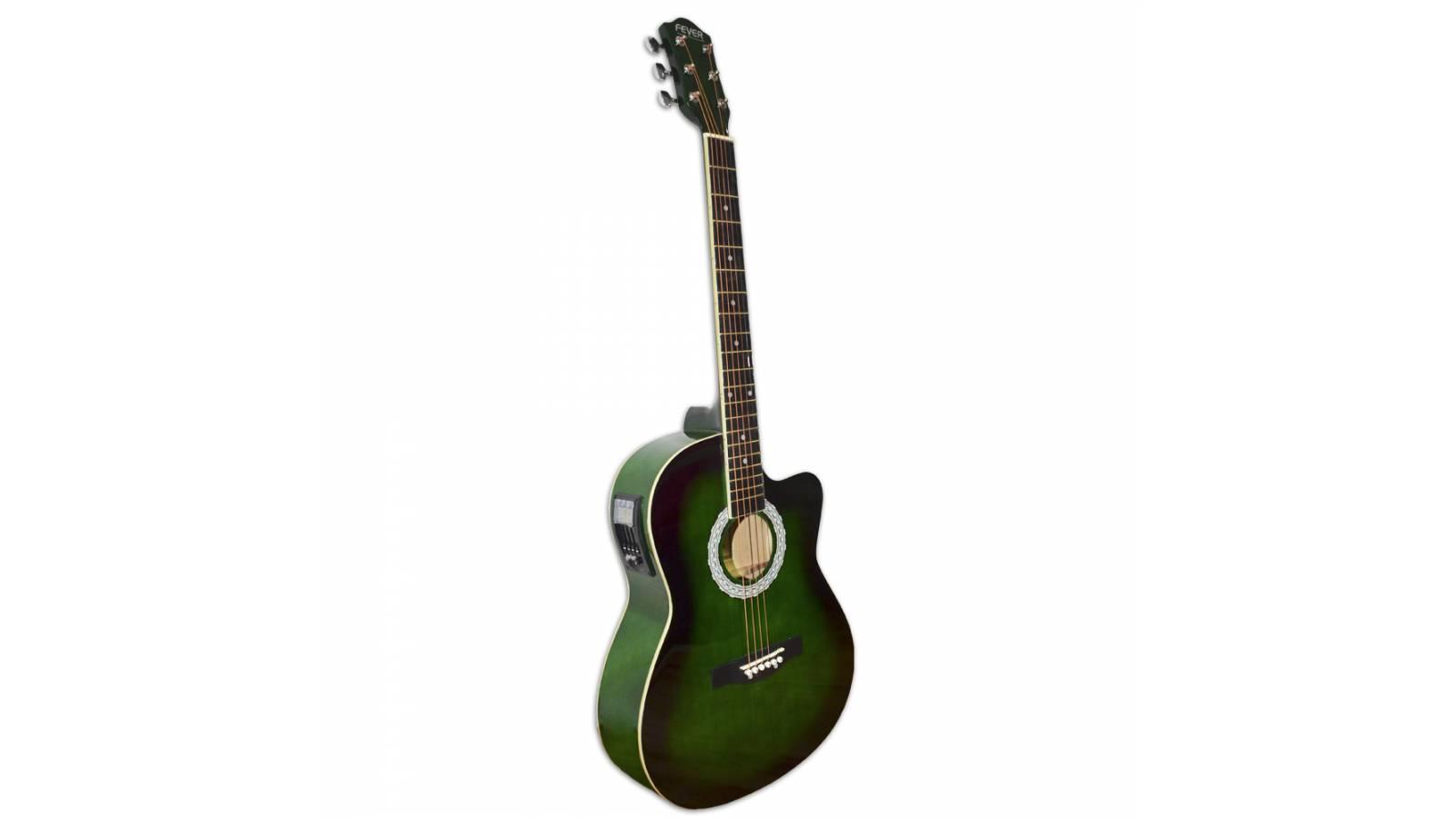 Guitarra Electro Acústica Fever, Cuerdas de Acero, Afinador Digital  FEV-39EQA