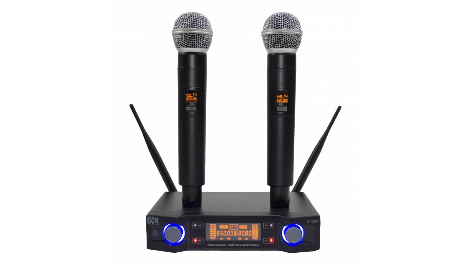 Microfono inalambrico doble de mano GT-2201 UHF GCM Pro