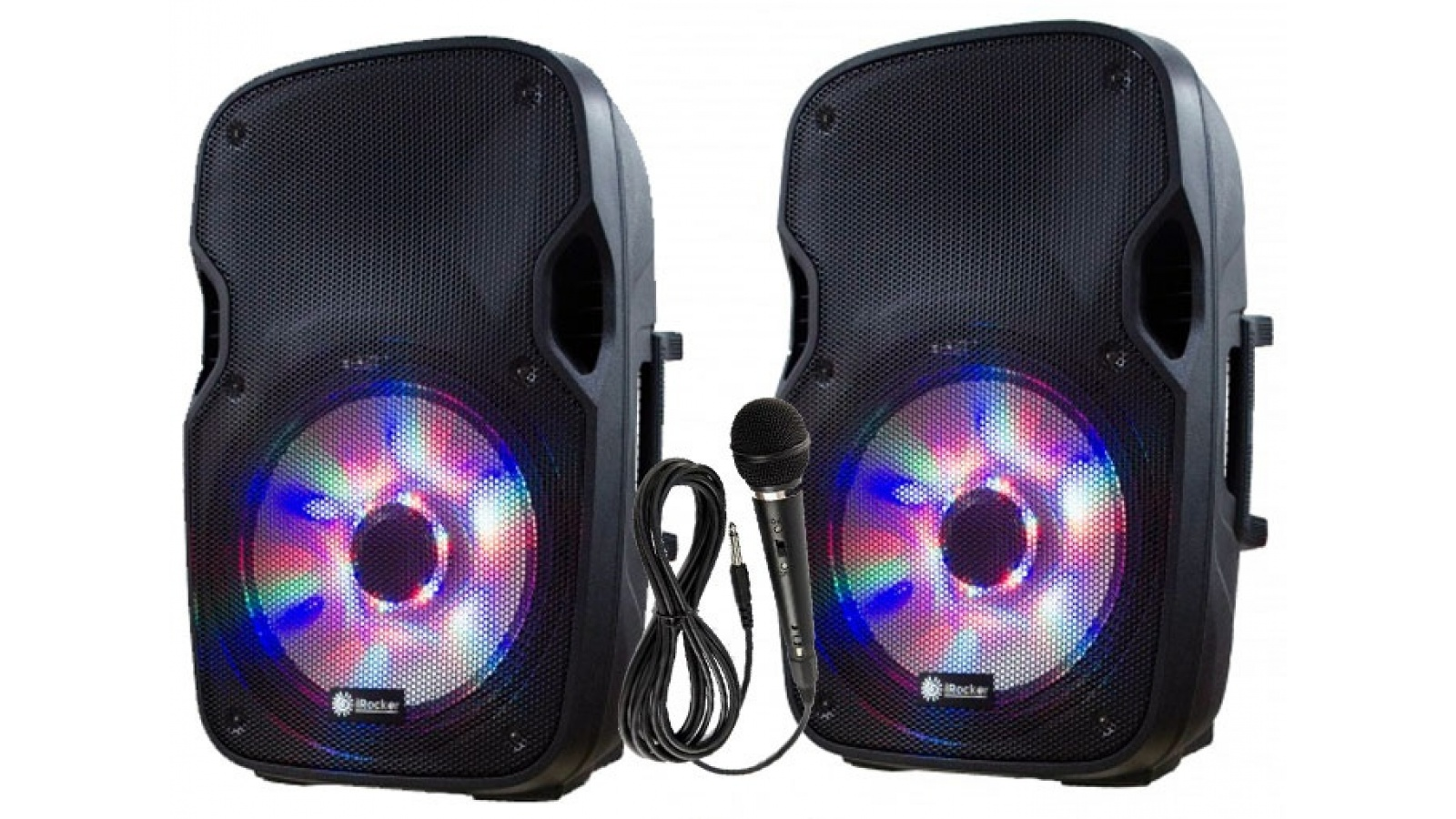 Combo Caja Activa + Caja Pasiva - con lector USB y Bluetooth + Soportes + Microfono - iRocker GCM Pro