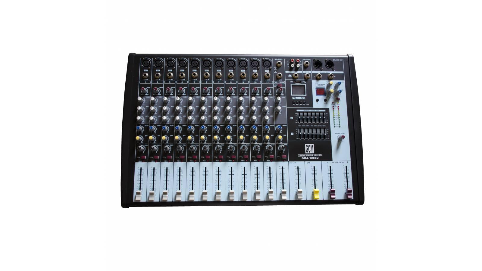 Consola/Mixer 12 canales + entrada USB - GMA-1208U GCM DJ LINE