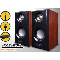 Parlantes 2.0 Portables Multimedia DE MADERA para PC TV Notebook G-092