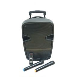 "Caja Bafle Potenciada G-120BT 1 x 12"" con LED USB FM Bluetooth 220v + 12V GCM Pro"