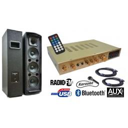 Sistema Completo amplificador Stereo con FM + BT + USB + Karaoke + 2 Satelites G298-SAT