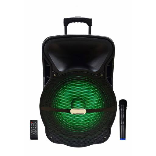 Caja Bafle Potenciada G-15DK 1 x 15 con LED USB FM Bluetooth con bateria y 12V
