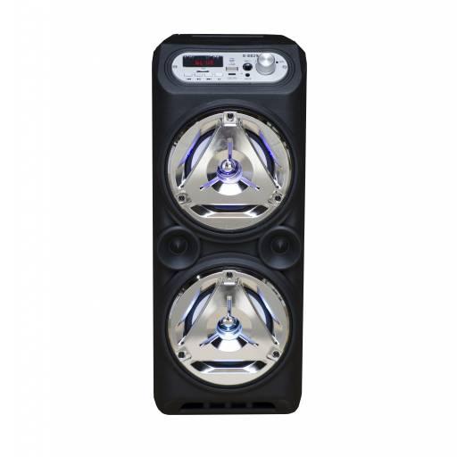 Parlante Portátil LED Estéreo 2x5 G-8829 MP3, FM, USB, SD, BT, MIC y AUX