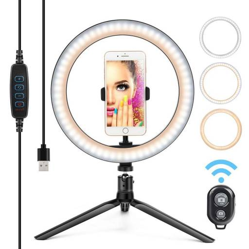 "Foco aro LED 10"" con pie para celulares, PC,  Camara de Fotos Filmadora ARO-LED1"