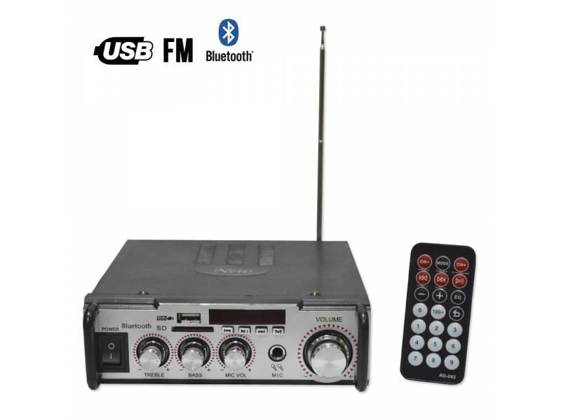 Amplificador de Audio C/Lector USB y SD + FM Bluetooth GCM-009
