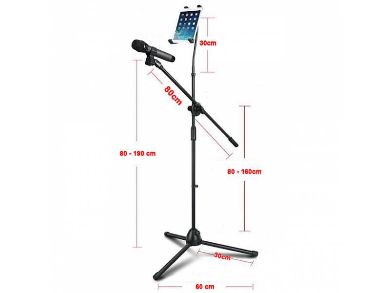Jirafa / Pie de microfono con soporte para Tablet