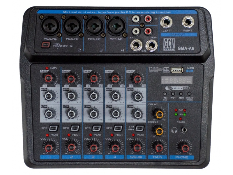 Mixer/Consola 6 canales + alimentacion por USB - GMA-A6 GCM DJ LINE