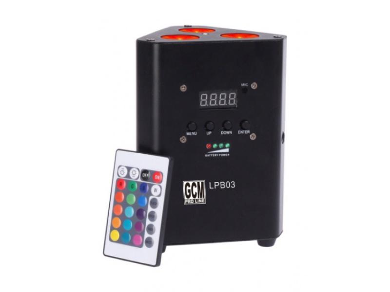 Par led de estructuras Con bateria 3 LED x 10W RGBW GCM Pro Line LPB-0310